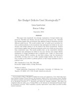 Are Budget Deficits Used Strategically?