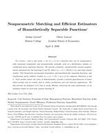 Nonparametric Matching and Efficient Estimators of Homothetically Separable Functions