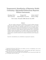 Nonparametric Identification of Regression Models Containing a Misclassified Dichotomous Regressor Without Instruments