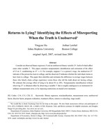 Returns to Lying? Identifying the Effects of Misreporting When the Truth is Unobserved