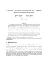Causality, Conditional Independence, and Graphical Separation in Settable Systems