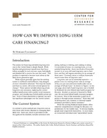 How can we improve long-term care financing?