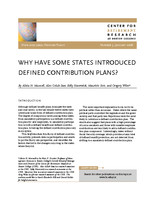 Why have some states introduced defined contribution plans?
