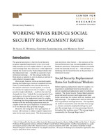 Working wives reduce Social Security replacement rates