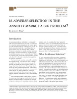 Is adverse selection in the annuity market a big problem?