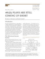 401(k) plans are still coming up short