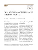 Will reverse mortgages rescue the baby boomers?