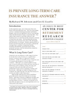 Is private long-term care insurance the answer?