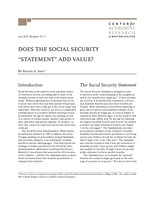 "Does the Social Security ""statement"" add value?"