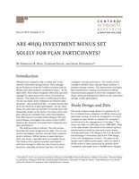 Are 401(k) investment menus set solely for plan participants?