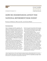 How do inheritances affect the National Retirement Risk Index?