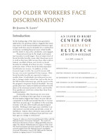 Do older workers face discrimination?