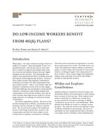 Do low-income workers benefit from 401(k) plans?