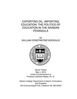 Exporting Oil, Importing Education: The Politics of Education in the Arabian Peninsula