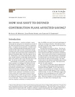 How has shift to defined contribution plans affected saving?