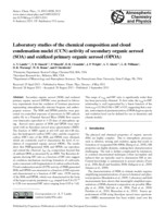 Laboratory studies of the chemical composition and cloud condensation nuclei (CCN) activity of secondary organic aerosol (SOA) and oxidized primary organic aerosol (OPOA)