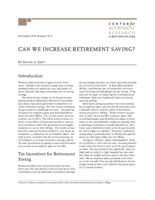 Can we increase retirement saving?