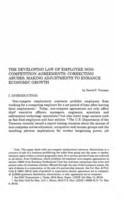 The  Developing law of employee non-competition agreements