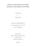Essays on the Impact of Credit Policies in Developing Countries