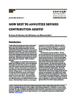 How best to annuitize defined contribution assets?