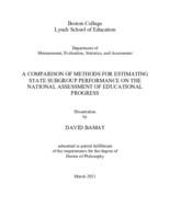 A Comparison of Methods for Estimating State Subgroup Performance on the National Assessment of Educational Progress